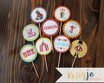 Red, Yellow, Turquoise Circus Cupcake Toppers - Circus Themed Party - Circus Birthday Party Circles - Bright Colors Circus Cupcake Toppers