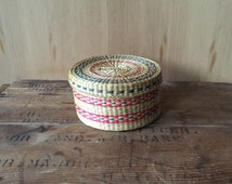 Woven Basket with Lid, Small Container