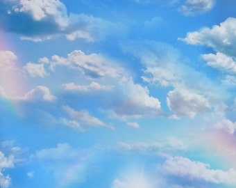 Landscape Medley~Clouds in Sky Rainbows~Cotton Fabric~Elizabeth's Studio~Fast Shipping SB310