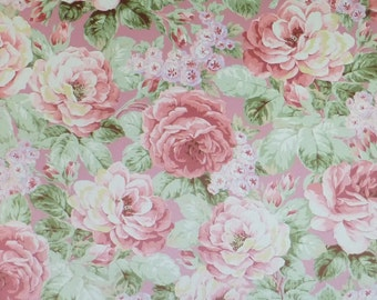 Prima Roses~Pink Background~Cotton Fabric, Quilt,~Floral,by Quilt Gate~Fast Shipping F590