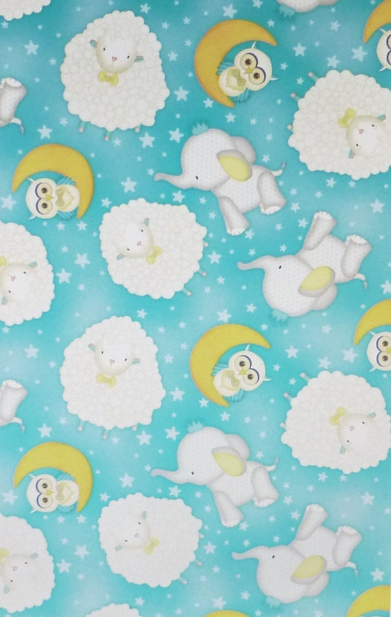 To the moon and backtossed animalscotton fabric quilt by for Moon print fabric