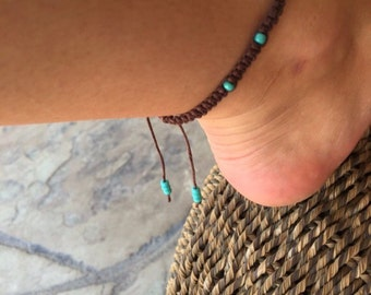 Beachy Turquoise Macrame Adjustable Anklet