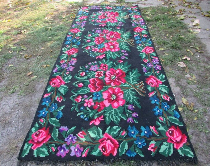 Bessarabian Kilim. Floor Rugs. Vintage Moldovan Kilim, Handmade 55 years old, handmade. Carpets, Eco-Friendly. per