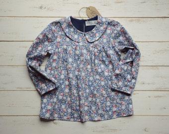 Girls Flower Blouse Navy Blue Long Sleeve Peter Pan Collar