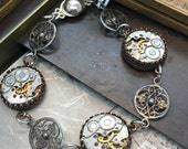 Steampunk jewelry watch movement sterling silver bracelet Handcrafted steampunk jewelry -The Victoria