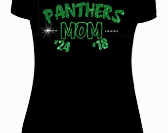 Panthers shirt. Panthers mom shirt can be customized with any numbers. Sparkly rhinestones. Glitter vinyl comes in any colors.*NOT FITTED*