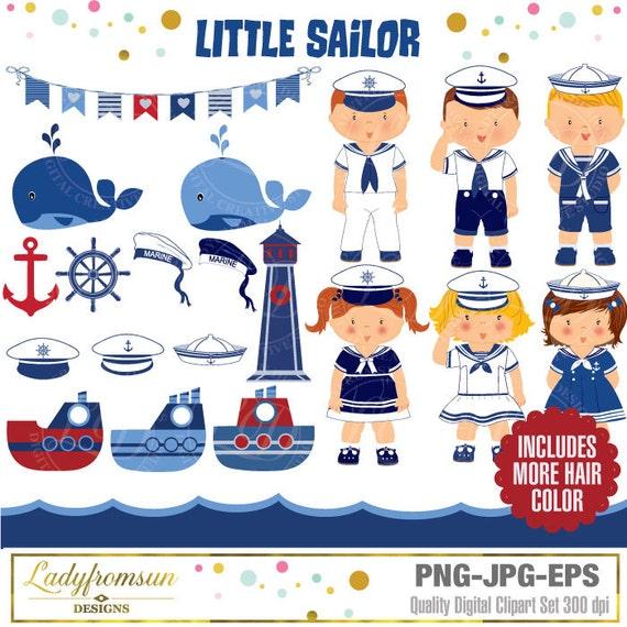 Little Sailor Nautical KidsSailor Girl Boy Navy Anchor