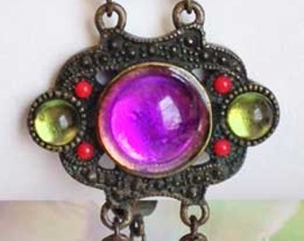 Eye Catching Multi Colors, Antique Silver Bracelet
