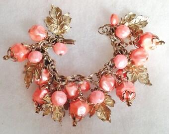 Vintage (Salmon Colored) Baroque Bead & Gold Leaf  Bracelet