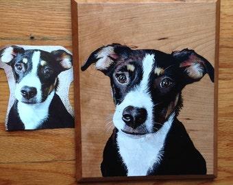 Custom Pet Portrait - Cat Portrait - Dog Portrait - Wood Pet portrait - Painting