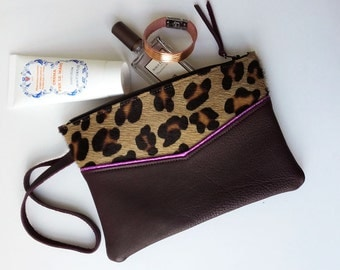 Leather pouch with wrist strap, leather clutch, make-up pouch, leather pencil pouch, real leather, printed leopard leather, cotton lining