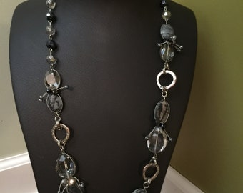 Grey and black beaded necklace
