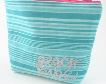 Beach Babe Zipper Pouch, Lined Zipper Bag, Aceessory Pouch, Makeup Bag, Beach Lover Gift