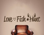 Love Fish Hunt Wall Decal Fish Hook Style Heart, Vinyl Wall Sticker, Wall Quote, Hunting Sign, Fishing Sign, Hunting Decor