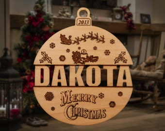 Personalized Wooden Name Cutout Christmas Ornament