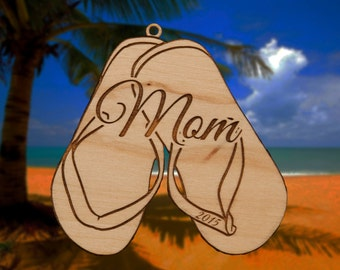 Personalized Wooden Flip Flop Christmas Ornament