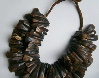 Tribal ketting (Naga currency?), India, met waterbuffel tanden