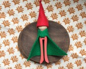 Holiday Gnome/Elf Ornament, Red with Green Cape and Red Hat