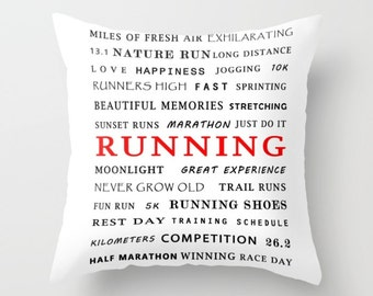 RUNNING, Pillow Cover, 6 sizes, home decor,sports,black,red, White, Inspiration,Typography,Modern decoration,Interior Design,dorm decor
