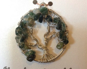 Green Tree of Life Pendant in Sterling Silver