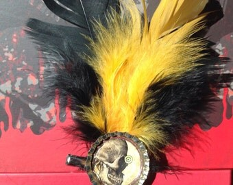 Steampunk #Victorian #gothic #flapper 1920's feathered hairpiece hairpin costume cosplay accessory