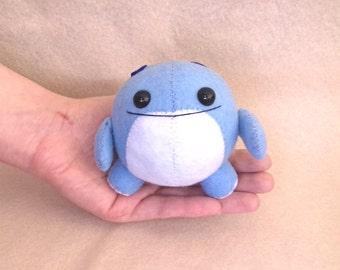 Chibi Quaggan soft plushie from Guild Wars 2. MMORPG. Blue and white. Collectable art doll Handmade Aquatic Kawaii and cute. Geek video game