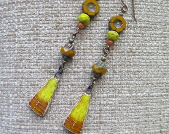 yellow and orange earrings, sunshine yellow earrings, saffron yellow earrings, harvest earrings, flower earrings, long earrings, stoneware