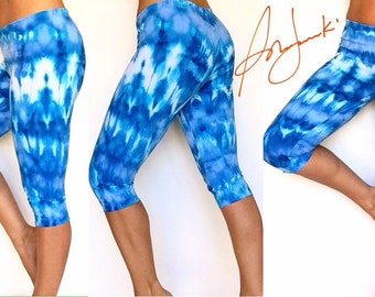 Womens Yoga Capri Leggings, Tie Dye Capris, Sport Fitness, Exercise Pant, Running Capris, Gym Pants, Workout Pants , Blue Capri Pants
