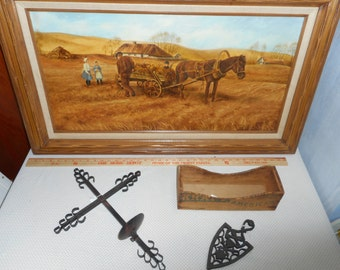 Vtg Signed Original Painting 38 x 24.5 Wood Frame Horse Wagon Farm Harvest