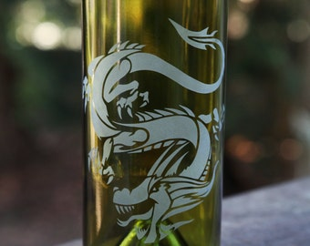 Dragon drinking glass upcycled from wine bottle