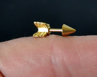 ONE Cartilage Earring Gold Arrow Surgical Steel 16g Cartilage Piercing Helix Earring Helix Piercing Conch Earring