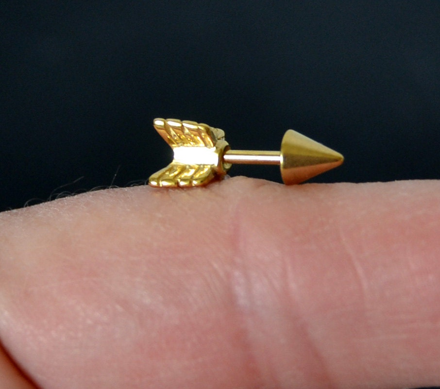 one cartilage earring gold arrow surgical steel 16g cartilage