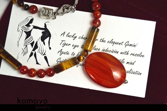 GEMINI CHARM NECKLACE - Red Agate Pendant and Tiger Eye Beads