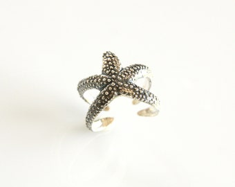 Starfish ring, Silver ring, Statement ring, Statement jewelry