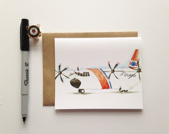 Greeting Card // USCG C-130 Hercules Card // Coast Guard Airplane // Aviation // Military Cards // Semper Paratus