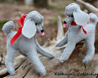 Grey Poodle Hand-Sewn Felt Ornament, Poodle Ornament, Poodle Gift, Standard Poodle, Poodle Sympathy gift, Poodle puppy