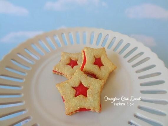 Fake Cookies Strawberry Cherry Sandwich Linzer Star Tart Set of 3