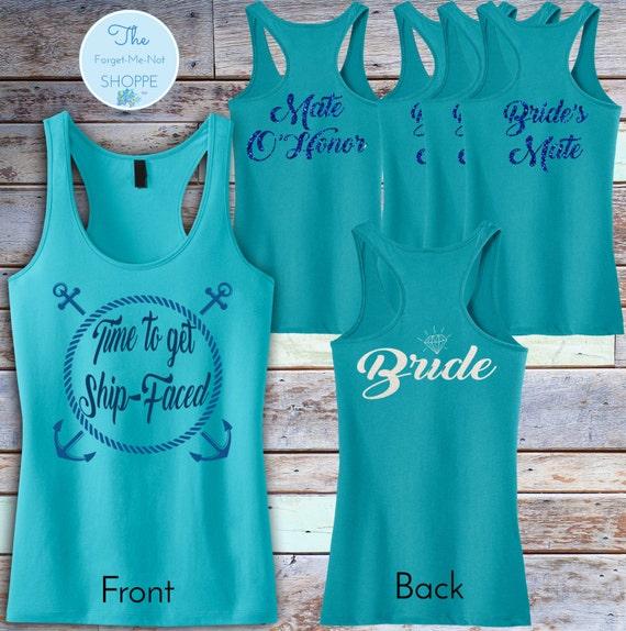 Bachelorette Party Ship Faced Racerback Tank Top ~ GlitterBACK//wedding, bride, bridesmaid, gift,MOH