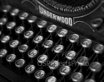 Vintage Typewriter Photography - Black and White Photo - Underwood Typewriter Photo - Old Typewriter Print -  Old Keyboard Image - Printing