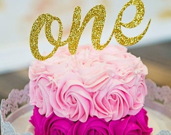 ONE Cake topper, Gold one Cake Topper, Smash Cake Topper, First Birthday Cake Topper