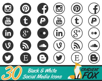 Social Media Icon Set - Simple Black and White Social Media Buttons - 30 Icons - Two Packs in One! - Instant Download