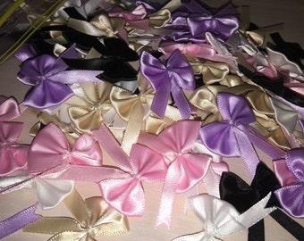 160 pieces of Handmade pastel colours satin ribbon lolita bows