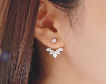Crystal Flower Dangle Earrings, Crystal Drop Earrings, Crystal Earrings