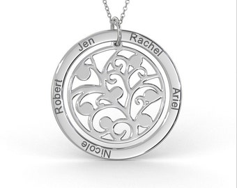 Family Tree Necklace in Sterling Silver (1.0mm Thick)