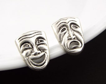 Theatre Mask Comedy and Tragedy Mismatched Stud Earrings Jewelry - Silver Plated with Sterling Silver Posts