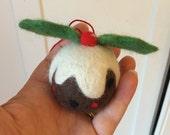 Felted Christmas Pudding Tree Decoration