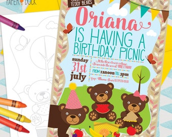 5 X Personalised TEDDY BEARS PICNIC Park Wood Birthday Party Invitation Invites Stationary