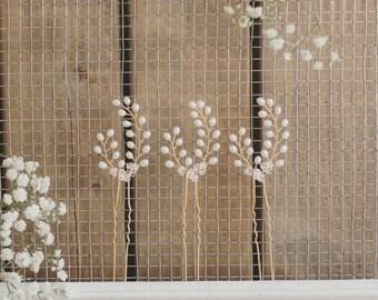 Bridal hair pins, bridesmaid hair pins, set of 3 hair pins, gold hair accessories, freshwater pearl, Swarovski crystal, wedding hair
