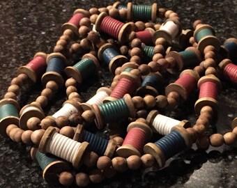 Vintage Wood Spools and Wood Beads Garland