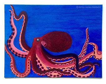 Original Red, Pink, and Purple Octopus Under The Sea Acrylic Painting